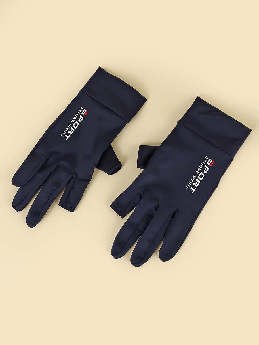 ZZTT Autumn and Winter Gloves Letter Graphic Gloves Warm and Comfortable Gloves for Men or Momen (Color : Navy Blue, Size : One-Size)