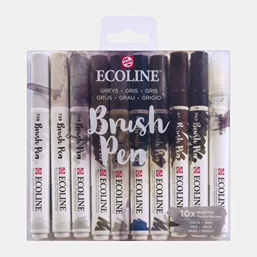 Ecoline Brush Pen Set of 10, Greys Colors (11509805)
