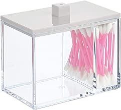 /Étui de Rangement en Boule de Coton Support pour Pinceau de Maquillage pour Q-Tip Porte-Coton Rond en Acrylique Transparent IvyH Organisateur de Porte-Coton-Tige R/écipient en Coton