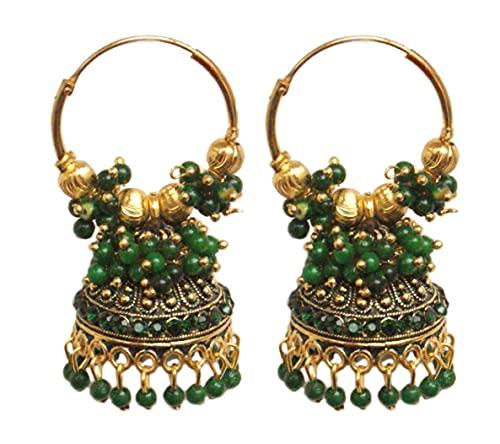 Pahal Ethnic Bollywood Jaipur Green Cluster Pearl Pintado Indio Big Gold Jhumka Pendientes de aro Jhumki Joyería nupcial para mujer