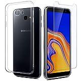 EasyAcc Hülle + Panzerglas für Samsung Galaxy J4 Plus 2018, 9H Schutzfolie + Crystal Clear Hülle Transparent Handyhülle Cover Soft TPU Durchsichtige Schutzhülle Für Samsung J4 Plus 2018