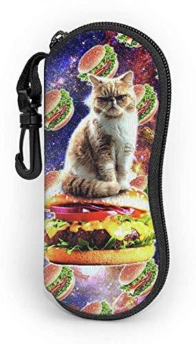 MODORSAN Sonnenbrillen Soft Zip Case Brillenetuis mit Gürtelclip Hamburger Space Cat On Burger Lustige Neopren-Brillentasche