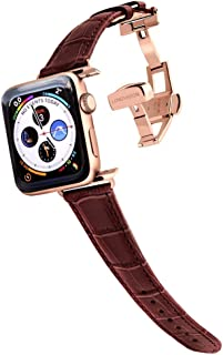 Longvadon Women's Watch Band - Compatible with Apple Watch Series 1, 2, 3 (42mm) & Series 4 (44mm) - Genuine Top Grain Leather - Caiman Series, Mahogany Brown with Gold Details