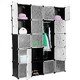 N/Z Home Equipment Armario de Armario de plástico Entrelazado portátil para Ropa Patrones Decorativos translúcidos Elegante Negro Blanco (20 Cubos)