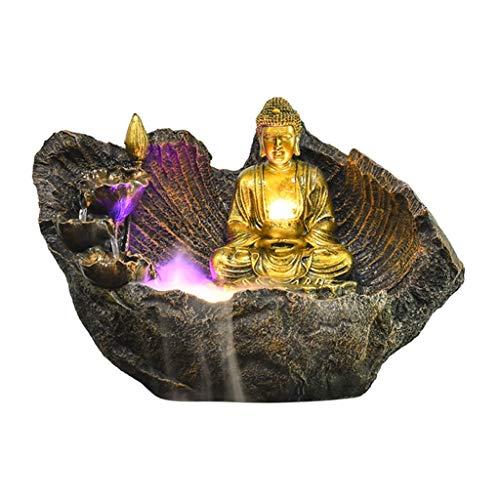Fuentes de Interior Fuente Tablero Resina Buda Fuente de Mesa Decoración 16.5' Regalos Fuente Buda Zen decoración de Ministerio del Interior Cascada de Escritorio