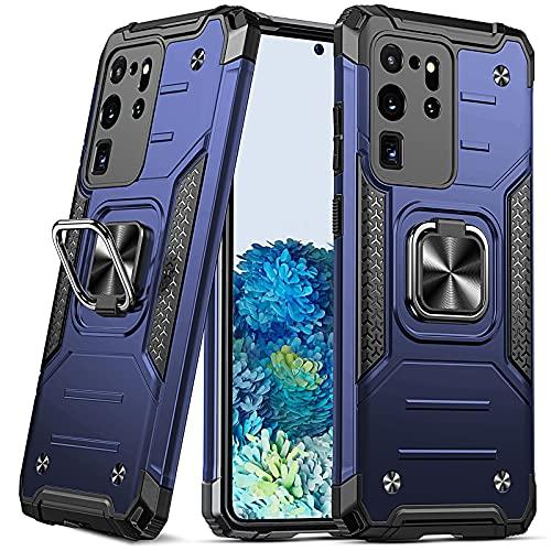 DASFOND Armor Hülle für Samsung Galaxy S20 Ultra 5G mit Kameraschutz Hülle Militärische Stoßfeste Handyhülle [Upgrade 2.0] 360 ° Ständer Cover für Auto Magnet, Blau