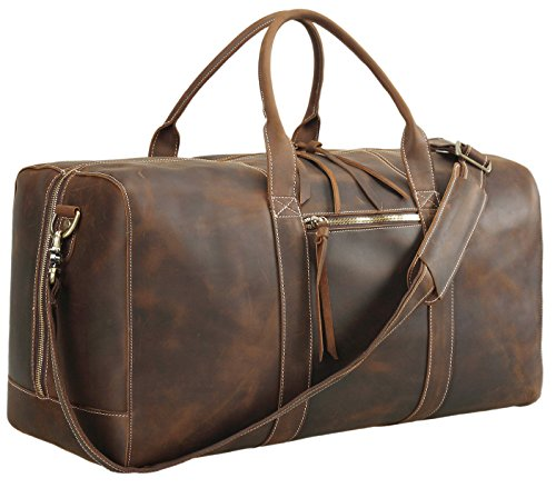 Polare Mens Full Grain Leather Duffel Bag Overnight Travel Duffle Weekender Bag 23.2'' with YKK Metal Zippers