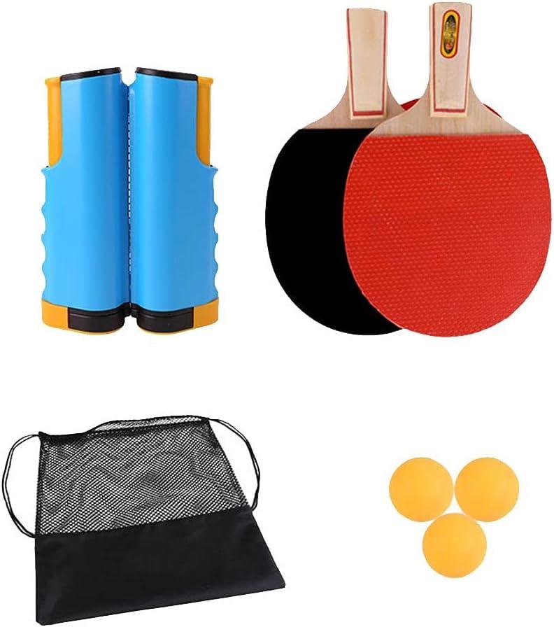 AKPO Juego de Ping Pong - Incluye Red de Ping Pong para Cualquier Mesa, 2 Palas/Raquetas de Ping Pong, 3 Pelotas de Ping Pong, Juego de Tenis de Mesa Portátil Yellow