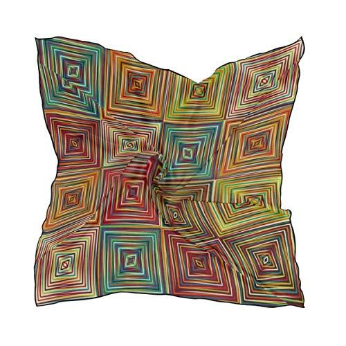 Women's Soft Polyester Silk Scarf, 23.62'x23.62'large Square Printed Seamless Geometric Ethnic Vector Art Pattern Silk Feel Scarf