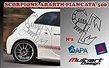 Multiart Design Stickers Scorpione Abarth Fiancata 500 (Nero Opaco)