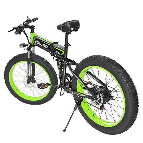 YYAO Full Suspension Frame 26Inch Electric Mountain Bike (4Inch Fat Tire) Removable Large Capacity Lithium-Ion Battery (48V 10AH), 7 Speed Gear Three Working Modes,Black Green,1000W