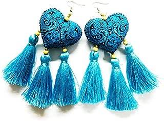 Earrings by WP Colorful Heart Tassel Handmade Earrings For Girl Women Gifts, Blue Earrings