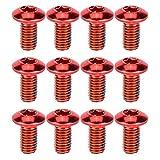 BESPORTBLE - Tornillo de bicicleta de titanio, 12 unidades, para frenos de disco, rotor, tuercas para bicicleta de montaña, color rojo, Unisex adulto, 00001TFH16X7, rojo, 1X0,5CM