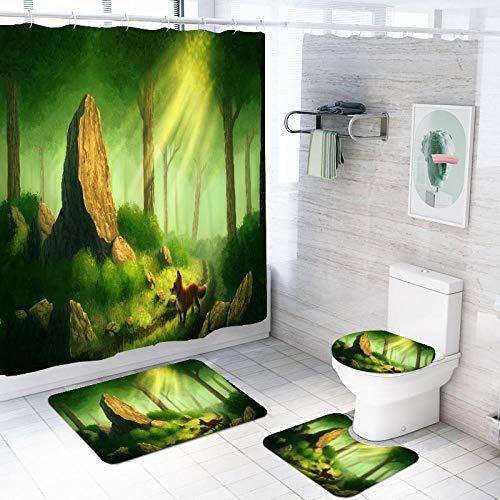 MQWEMJ Duschvorhang, Grüngelber Dschungelfuchs Wasserdicht Farbfest Schimmel Resistent Badezimmer Gardinen Badezimmer Duschvorhang Gesetzt Polyester 180×200 cm