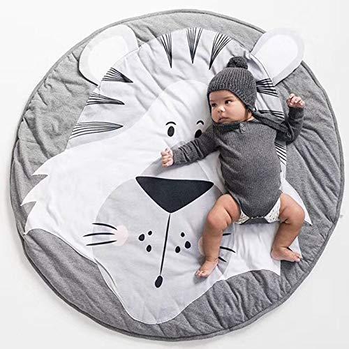 Alfombra de juegos para bebé con diseño de tigre y animales, color gris suave y grueso de algodón