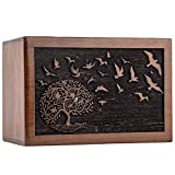 INTAJ Handmade Tree of Life Wooden Urns for Human Ashes, Rosewood Adult Large Cremation Urns, Funeral Urns Engraved, Burial Urns (Tree Birds, XL (11x7.5x6) 340 Cu/in)