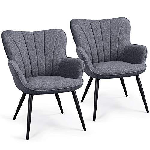Yaheetech 2PCS Dining Chair Armrest Fabric Armchair Restaurant Chairs Hotel Reception Chairs Leisure Chair Sofa Side Chair Kitchen Dining Room Furniture Set of 2 Gray