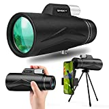 Snoky 12X50 Monocular Telescope, High Power Monocular with 19cm Smartphone Holder & Tripod, Waterproof Zoom Telescope, Day & Low Night Vision, BAK4 Prism Dual Focus for Bird Watching Hunting, Camping
