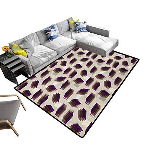 Felpudo para interiores y exteriores, diseño geométrico, ideal para decoración del hogar, multicolor, poliéster y mezcla de poliéster, Multi-07, 92x153 cm