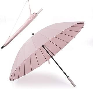 YQRYP Long Handle Umbrella Female Large 24 Bone Double Umbrella Retro Reinforced Umbrella Outdoor Straight Handle Umbrella Windproof Umbrella, Golf Umbrella (Color : Pink)