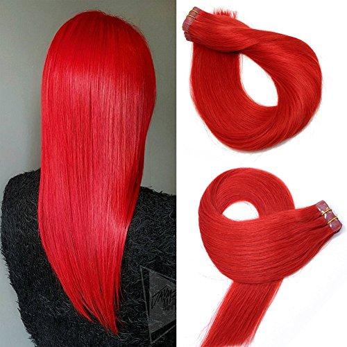 Tape in Echthaar Extensions Haare 22 Zoll/55cm #Red 60g / 20PCS Brazilian Remy Hair Tape-in Haarverlängerungen seidige gerade Haut einschlag menschlichen Remy Haar