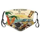 Cómodo impreso Ma-sk, retro, bienvenido a Hawaii American Pop Art Impresión con las palmas del coche envejecidas Tribal Ma-sk tablas de surf, multicolor, a prueba de viento para adultos Tamaño: M