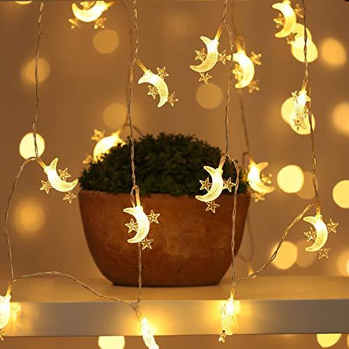 Yiwa Led-lichtsnoer, sterren, vakantie in de openlucht, voor kerstfeest, bruiloftsdecoratie, werkt op batterijen, 1,5 meter, 10 lampen, batterij warm licht van sterren en maan