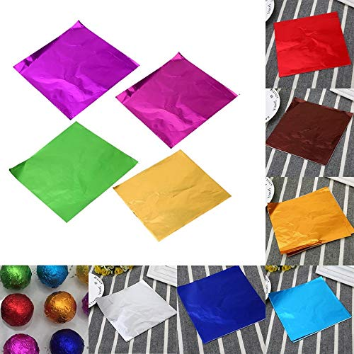 BLOUR Junejour 100pcs 8x8CM DIY Lebensmittel Aluminiumfolie Papier Praline Verpackung 10 Farben Party Geburtstag Wrapper Folie Papieraufkleber