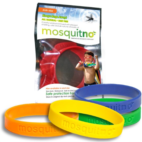 Mosquitno Natural, Citronella, Waterproof, Mosquito Repellent Wristbands, Kids, 5-Pack, Red/Orange/Green/Navy/Yellow