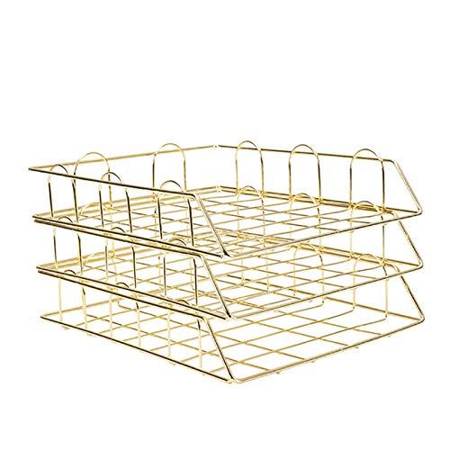 Mefeny Bandeja de metal dorado para documentos de oficina, organizador de papel en capas, bandeja de papel de almacenamiento, accesorios de escritorio, revistas