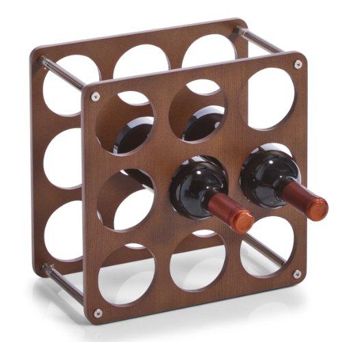 Zeller 13167 Weinregal für 9 Flaschen 0.7 Liter inklusive 4 Kunststoff-Verbindungsstücken, 30 x 30 x 17 cm
