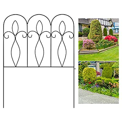 Sunix Decorative Garden Fence 32in x 10 ft Outdoor Coated Metal Folding Garden Fencing Garden Border Edging Fence Set Wire Folding Fencing for Landscaping, Garden Fence Animal Barrier, 5 Pieces, Black