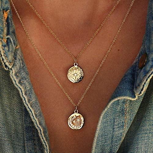 Shulcom Collar de Mujer de múltiples Capas y Collar Colgante de luz de Luna, joyería de Collar de Fiesta