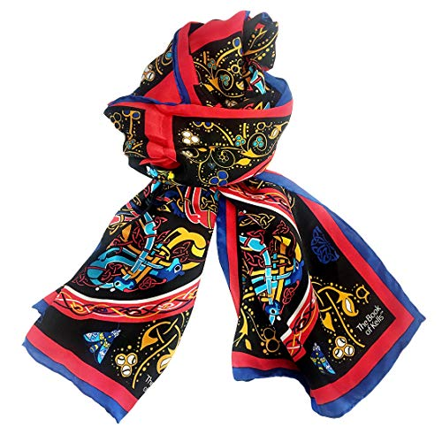 Book of Kells collection Damen Book of Kells Black Multi Silk Long Scarf Geschenk Schals Seide The Celtic Collection, Schwarz, One Size
