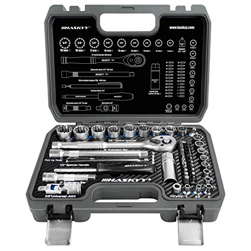 52tlg Vielzahn Zoll TORX Gear Lock Profil XZN E-Profil Steckschlüssel Set 12-Kant 6-Kant - Harley - Zöllisch - Metrisch -1/4 & 3/8 - Nuss Bits 4-19mm
