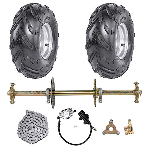 """ZXTDR 1"""" Steel Live Axle with 16x8-7 Tubeless Wheels Tires Rim and Chain Sprocket Brake Master Cylinder for Go Kart Quad Trike Golf Carts"""