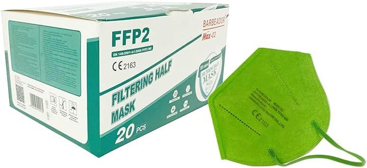 Mascherina ffp2 verde - 20 pezzi - dpi certificata ce - barbeador B08VVTVQ9H