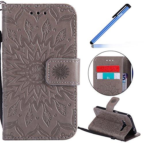 Ysimee Funda Samsung Galaxy Core Prime G360,Carcasa Libro de Cuero Ultra Delgado Billetera Cartera Ranuras de Tarjeta,Soporte Plegable,Cierre Magnético Flip Cover para Galaxy Core Prime G360 -Gris