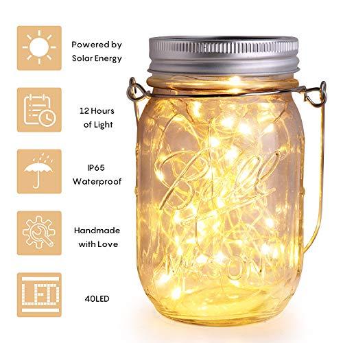Herefun Luces De Jardin Solares, Lámpara Solar Mason Jar Tarro Cristal Luces de Hadas 40 LED Impermeable Lampara Iluminación Para Terraza, Jardín, Patio Fiesta [Clase de eficiencia energética A]