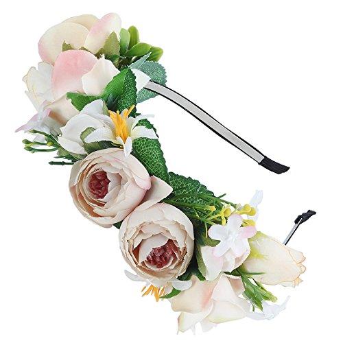 AWAYTR Mädchen Braut Blumenkrone Stirnband Haarband Blumen Girlande Kopfstück zum Hochzeit Parteien (Khaki + Grün)