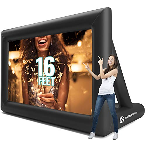 Holiday Styling Projector Screen - Inflatable Outdoor Movie Screens - 200 Inch Blow Up Screen for TV & Movies - Portable, Front & Rear Projection
