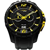 NOA Men's Swiss Quartz Watch - Premium Analog Display with Black Dial and Watch Band - White and Yellow Accents - Water Resistant Stainless Steel Fashion - SKCH-004