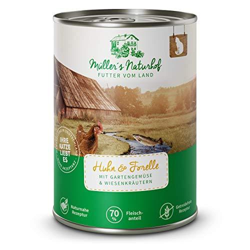Müllers Naturhof | Nassfutter für Katzen | naturnahe Rezeptur | Huhn & Forelle | 12 x 400 g | getreidefrei | 70% Fleischanteil | ohne Tierversuche, Zucker, Farb-, Aroma-, & Konservierungsstoffe