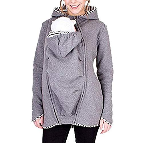 WMOFC Frauen Baby Trage Sweatshirts, 2-In-1 Multifunktions-Känguru-Baby-Träger Sweatshirts Hoodie Für Schwangere Frauen Hoodiepullover,Grau,L