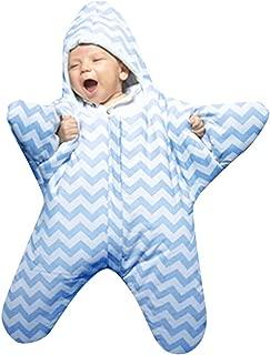 Hongxin Unisex Baby Sleeping Bag,1pc Cute Star Shape Striped Print Infant Baby Sleeping Bag Swaddle Swaddle Muslin Wrap Anti-Kick Blanket (Blue)