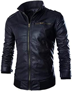 Faux Leather Zip Up Jacket For Men