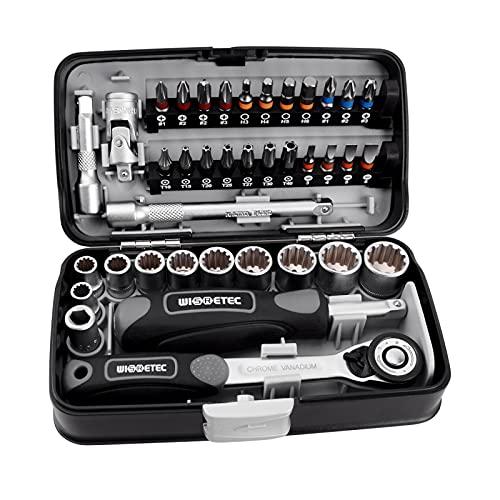 DIFCUL Multifunction Utility - Juego de llaves de carraca (38 unidades, cabeza de destornillador de 1/4, mango para reparación de bicicletas, acero CR-V y S2, con maletín de almacenamiento)