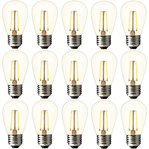 BRIMAX 2w S14 Led Edison Light Bulbs Outdoor-11w Incandescent Filament Bulb Replacement-2700K Bright Warm White Dimmable, E26 Base Durable Plastic Shatterproof for Outdoor Patio String Light -15pack