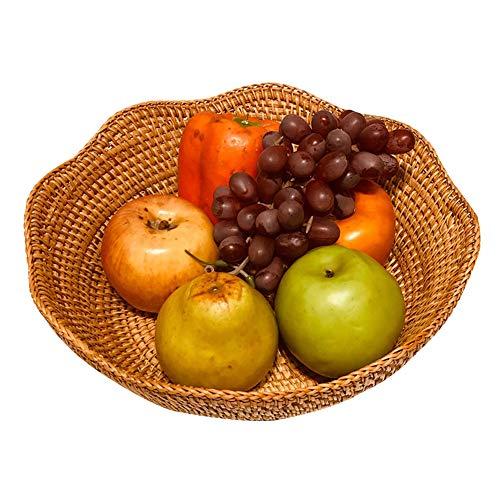 HQBL Cesta de Frutas Tejida Ratán NaturalBandeja Pan Torta Tejida,Soporte de Cuenco Almacenamiento Decorativo Hecho A Mano,Organizador Mesa Mostrador de Cocina,Cuenco para Servir Aperitivos