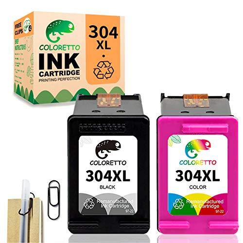 COLORETTO Remanufacturado Cartuchos de Tinta Reemplazo para Que HP 304XL 304 XL (1 Negro,1 Tricolor) se Use con AMP 100 120 130 DeskJet 2630 2632 2633 (La Edición Especial Incluye 1 Clip para Pluma)
